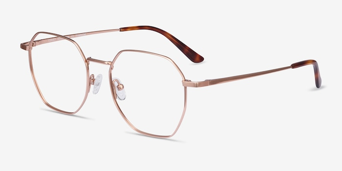 Comet Rose Gold Titanium Eyeglass Frames from EyeBuyDirect, Angle View