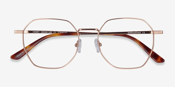 Comet Rose Gold Titanium Eyeglass Frames from EyeBuyDirect, Closed View