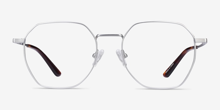 Comet Silver Titanium Eyeglass Frames from EyeBuyDirect, Front View