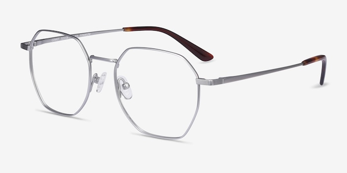 Comet Silver Titanium Eyeglass Frames from EyeBuyDirect, Angle View
