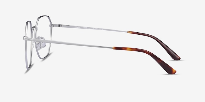 Comet Silver Titanium Eyeglass Frames from EyeBuyDirect, Side View