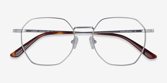 Comet Silver Titanium Eyeglass Frames from EyeBuyDirect, Closed View