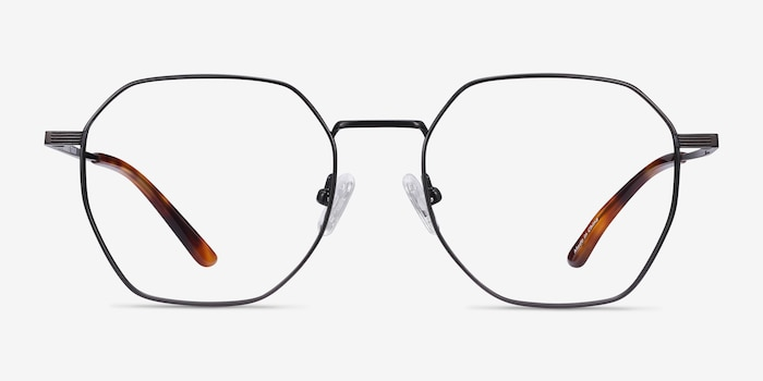 Comet Black Titanium Eyeglass Frames from EyeBuyDirect, Front View
