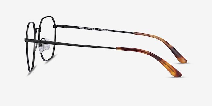 Comet Black Titanium Eyeglass Frames from EyeBuyDirect, Side View