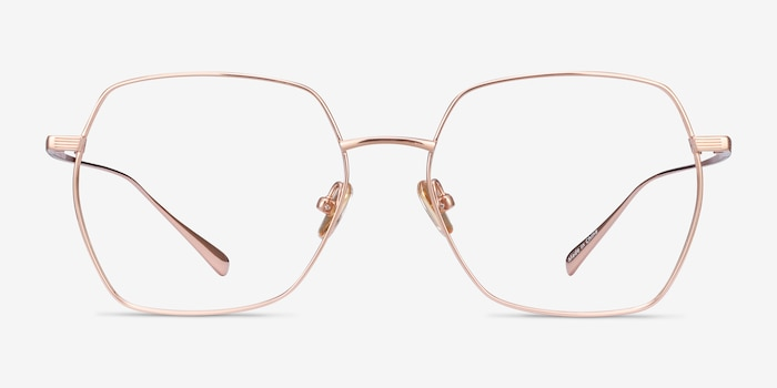 Holistic Rose Gold Titanium Eyeglass Frames from EyeBuyDirect, Front View