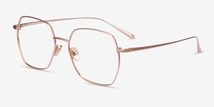 Holistic Rose Gold Titanium Eyeglass Frames from EyeBuyDirect, Angle View