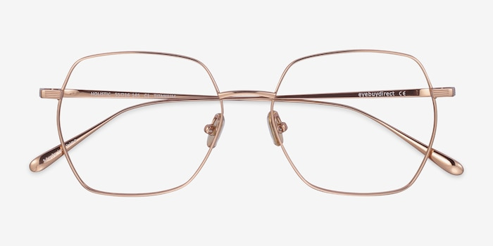 Holistic Rose Gold Titanium Eyeglass Frames from EyeBuyDirect, Closed View