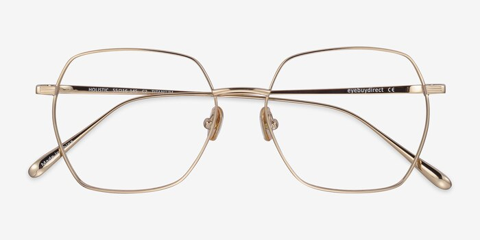 Holistic Gold Titanium Eyeglass Frames from EyeBuyDirect, Closed View
