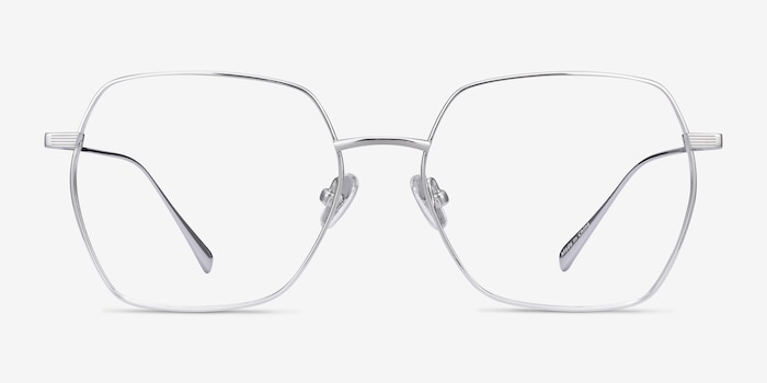 Holistic Silver Titanium Eyeglass Frames from EyeBuyDirect, Front View
