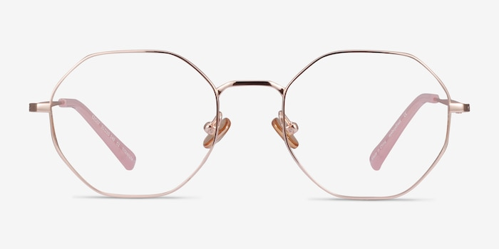 Cecily Rose Gold Titanium Eyeglass Frames from EyeBuyDirect, Front View