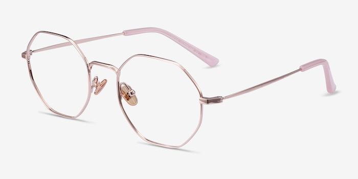 Cecily Rose Gold Titanium Eyeglass Frames from EyeBuyDirect, Angle View