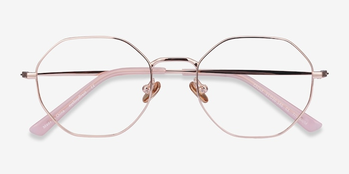 Cecily Rose Gold Titanium Eyeglass Frames from EyeBuyDirect, Closed View