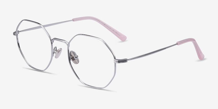 Cecily Silver Titanium Eyeglass Frames from EyeBuyDirect, Angle View