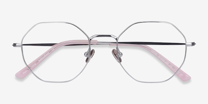 Cecily Silver Titanium Eyeglass Frames from EyeBuyDirect, Closed View