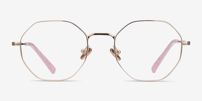 Cecily Gold Titanium Eyeglass Frames from EyeBuyDirect, Front View