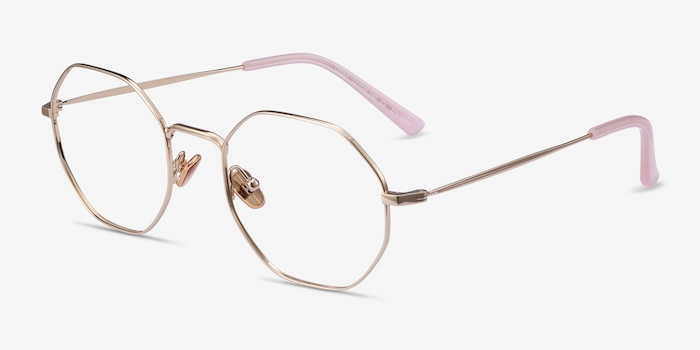 Cecily Gold Titanium Eyeglass Frames from EyeBuyDirect, Angle View