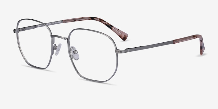 Dante Gunmetal Titanium Eyeglass Frames from EyeBuyDirect, Angle View