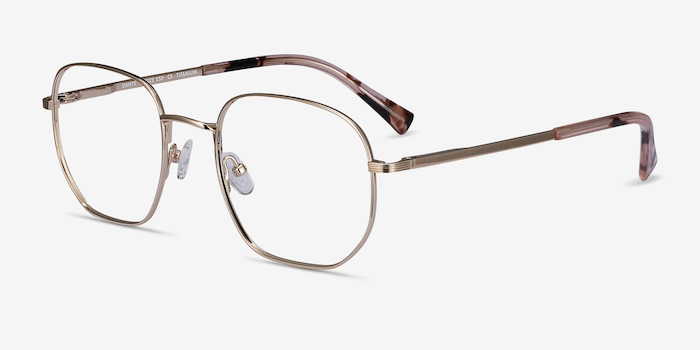 Dante Gold Titanium Eyeglass Frames from EyeBuyDirect, Angle View