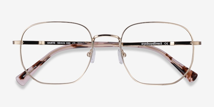 Dante Gold Titanium Eyeglass Frames from EyeBuyDirect, Closed View