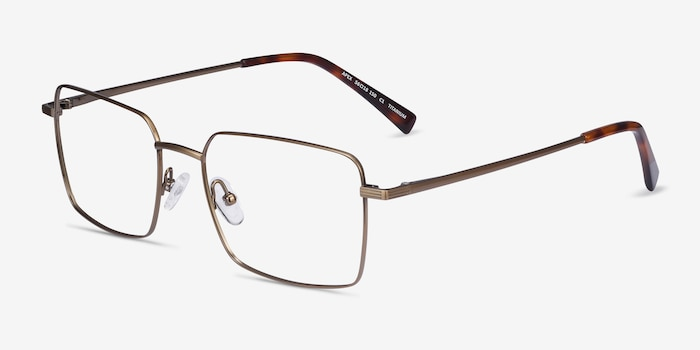 Apex Bronze Titanium Eyeglass Frames from EyeBuyDirect, Angle View