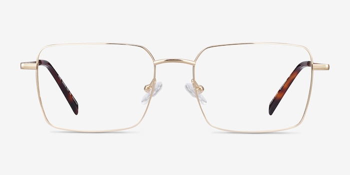 Apex Gold Titanium Eyeglass Frames from EyeBuyDirect, Front View