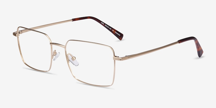 Apex Gold Titanium Eyeglass Frames from EyeBuyDirect, Angle View