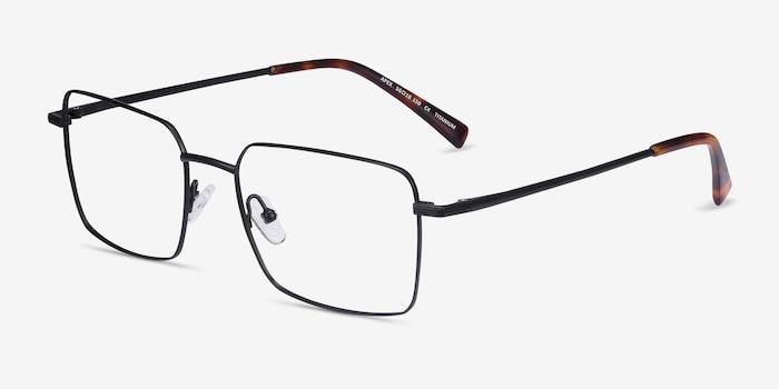 Apex Black Titanium Eyeglass Frames from EyeBuyDirect, Angle View