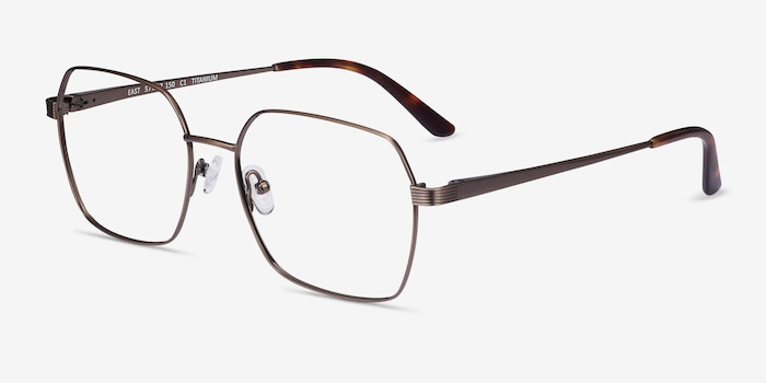 East Bronze Titanium Eyeglass Frames from EyeBuyDirect, Angle View
