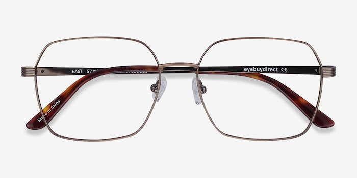 East Bronze Titanium Eyeglass Frames from EyeBuyDirect, Closed View