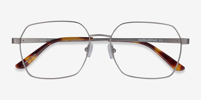 East Gunmetal Titanium Eyeglass Frames from EyeBuyDirect, Closed View