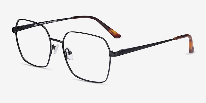 East Black Titanium Eyeglass Frames from EyeBuyDirect, Angle View