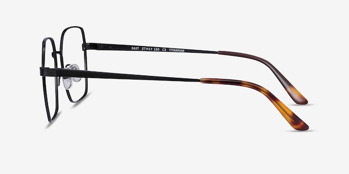 East Black Titanium Eyeglass Frames from EyeBuyDirect, Side View