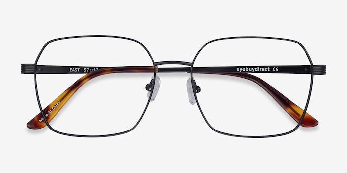 East Black Titanium Eyeglass Frames from EyeBuyDirect, Closed View