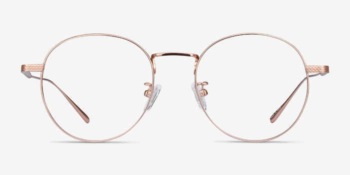 Geometry Rose Gold Titanium Eyeglass Frames from EyeBuyDirect, Front View