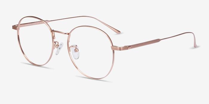 Geometry Rose Gold Titanium Eyeglass Frames from EyeBuyDirect, Angle View
