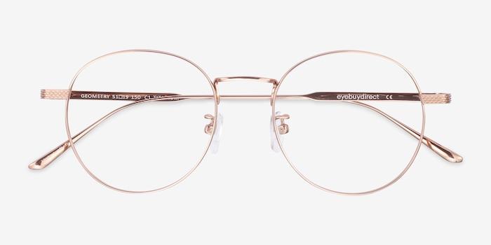 Geometry Rose Gold Titanium Eyeglass Frames from EyeBuyDirect, Closed View