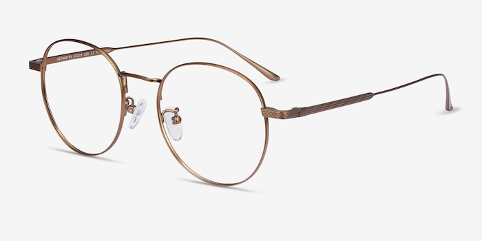 Geometry Bronze Titanium Eyeglass Frames from EyeBuyDirect, Angle View