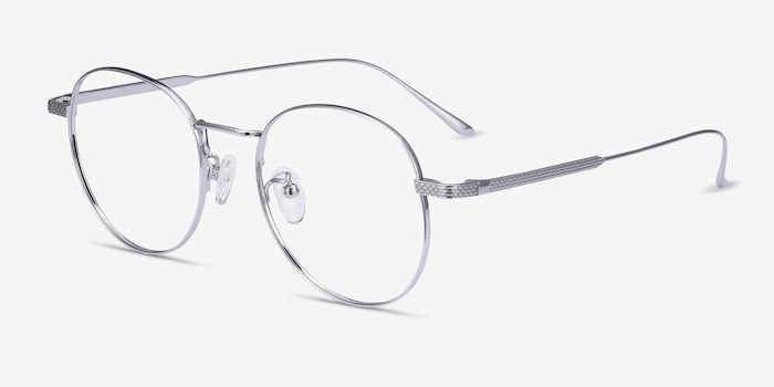 Geometry Silver Titanium Eyeglass Frames from EyeBuyDirect, Angle View