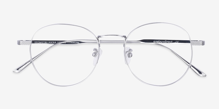 Geometry Silver Titanium Eyeglass Frames from EyeBuyDirect, Closed View