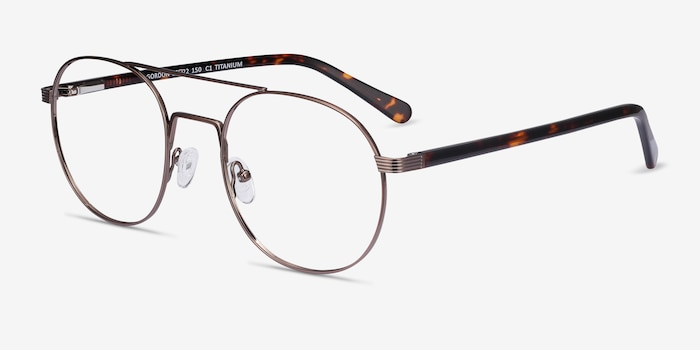 Gordon Bronze Acetate Eyeglass Frames from EyeBuyDirect, Angle View