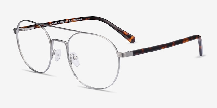 Gordon Silver Titanium Eyeglass Frames from EyeBuyDirect, Angle View