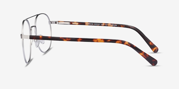 Gordon Silver Titanium Eyeglass Frames from EyeBuyDirect, Side View