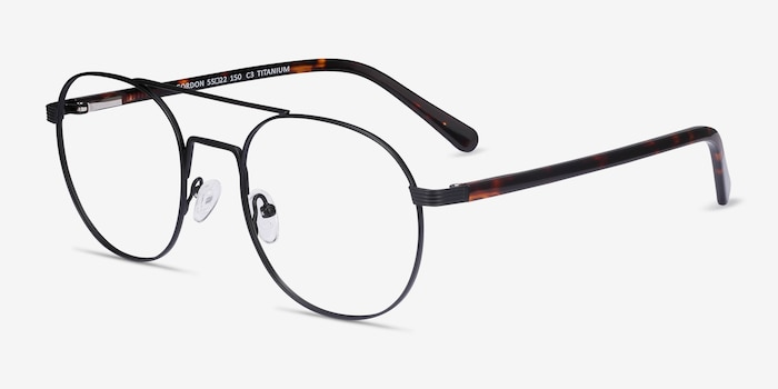 Gordon Black Titanium Eyeglass Frames from EyeBuyDirect, Angle View