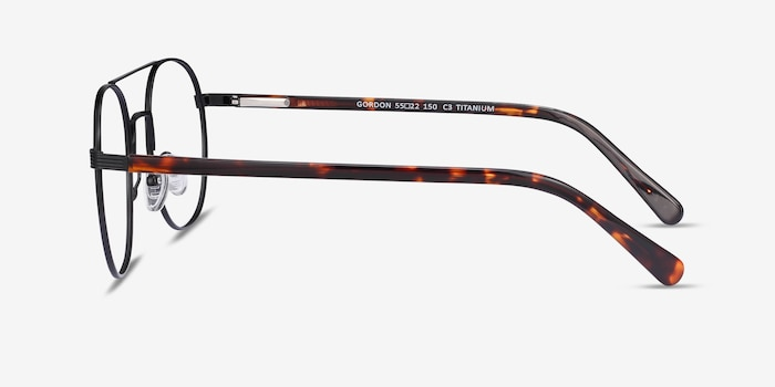 Gordon Black Titanium Eyeglass Frames from EyeBuyDirect, Side View