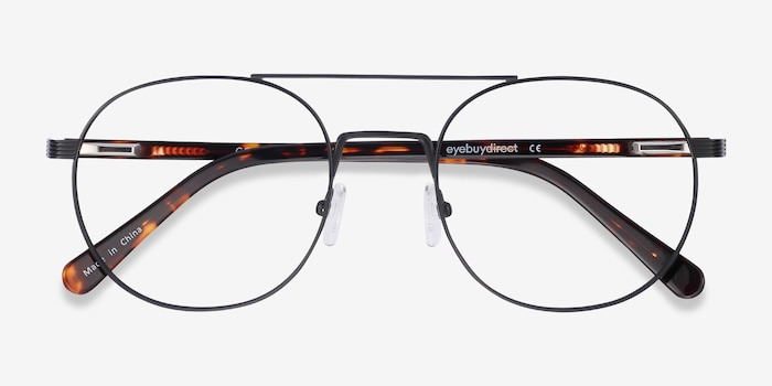 Gordon Black Acetate Eyeglass Frames from EyeBuyDirect, Closed View