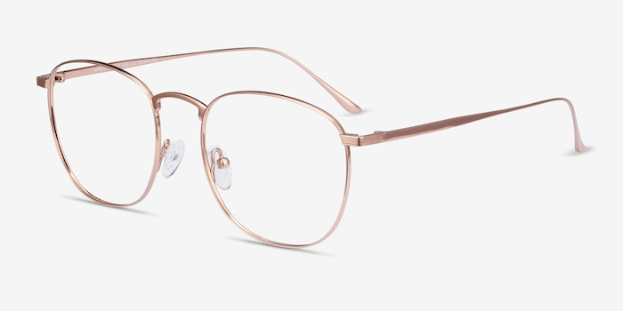 Arbor Rose Gold Titanium Eyeglass Frames from EyeBuyDirect, Angle View