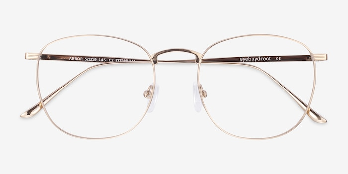 Arbor Gold Titanium Eyeglass Frames from EyeBuyDirect, Closed View