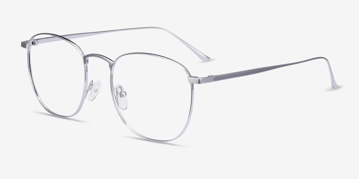 Arbor Silver Titanium Eyeglass Frames from EyeBuyDirect, Angle View