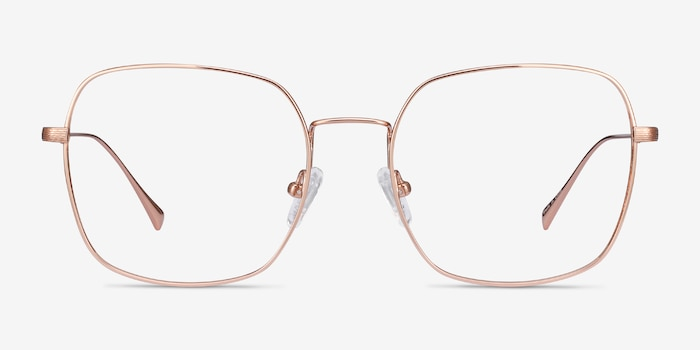Meteor Rose Gold Titanium Eyeglass Frames from EyeBuyDirect, Front View