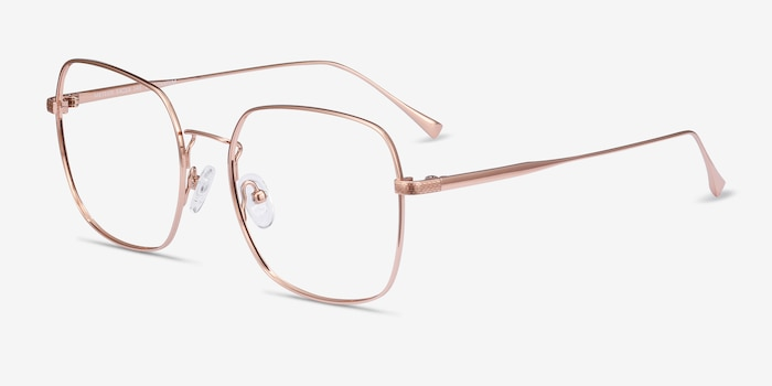 Meteor Rose Gold Titanium Eyeglass Frames from EyeBuyDirect, Angle View